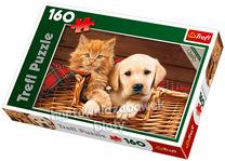 Puzzle 160el. Razem raźniej, pies i kot